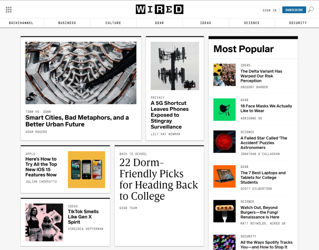 Wired news site