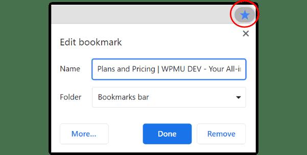 Chrome star bookmark method