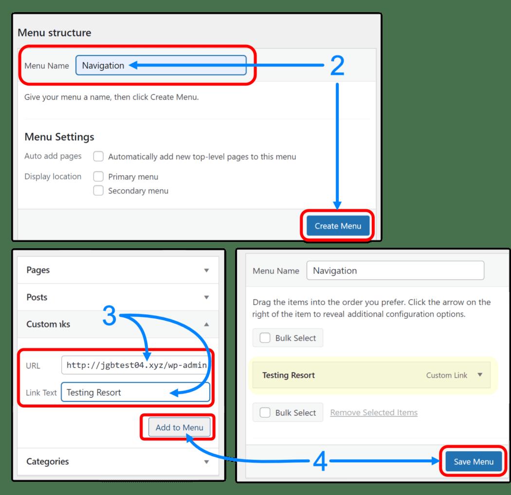 Adding a login menu in WP