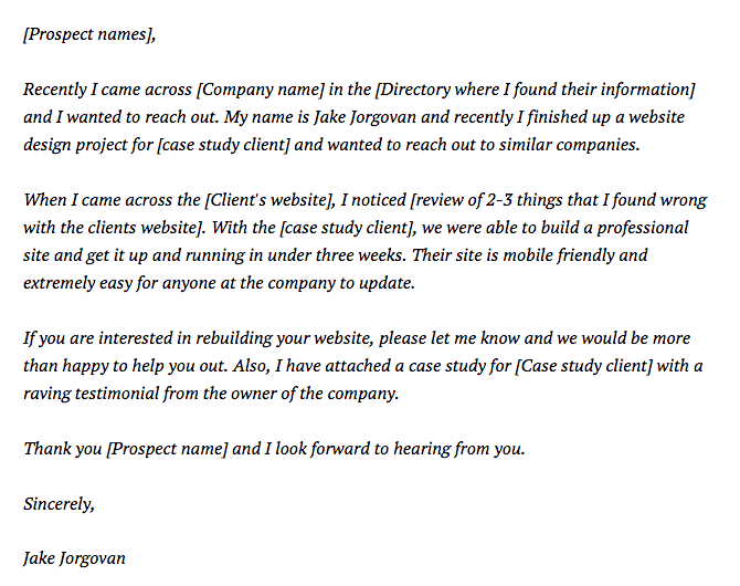 Another example of a successful cold email.