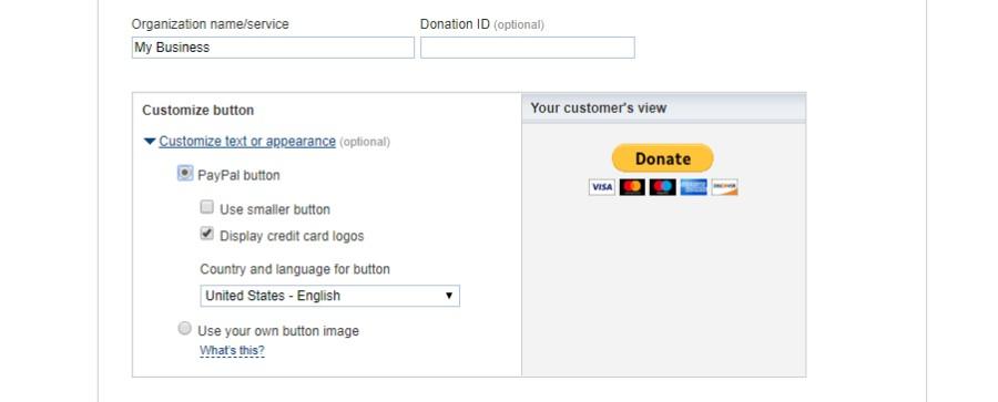 PayPal donate button details