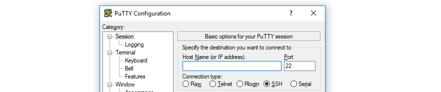 Using PuTTY to establish an SSH connection.