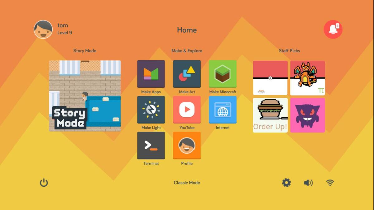 Kano OS features a beautiful dashboard
