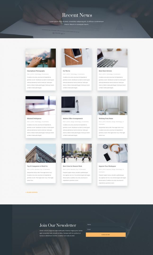 law firm layout blog page