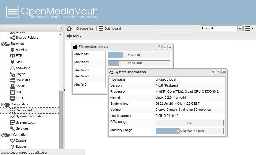 OpenMediaVault's dashboard showing system info