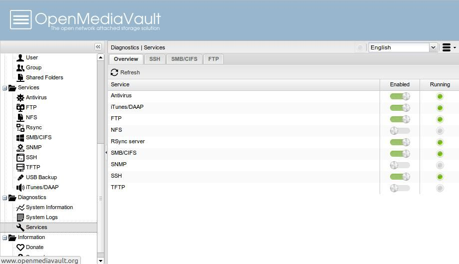 OpenMediaVault supports various services
