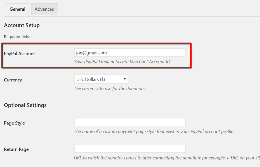 PayPal donations plugin PayPal account