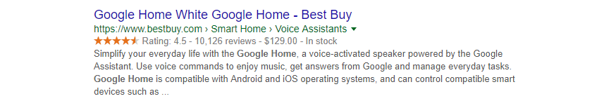 An example of a product's rich snippet.