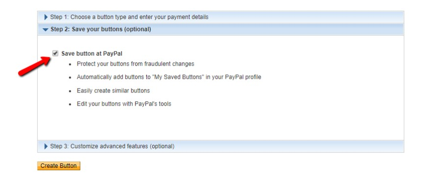 Save button at PayPal