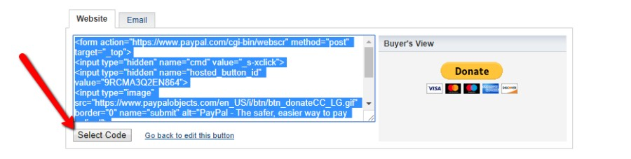 Copy PayPal donate button embed code