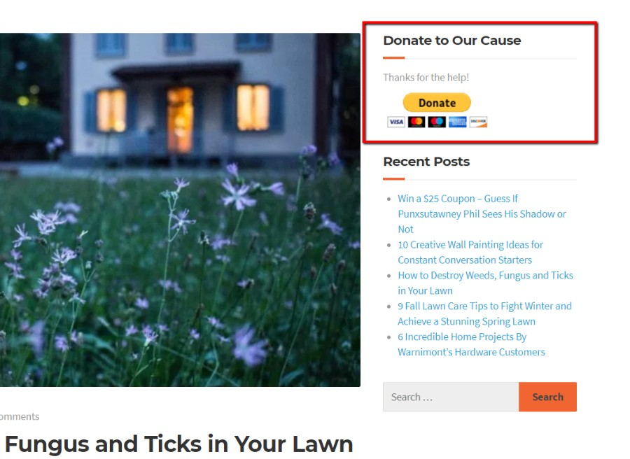 PayPal donate button in widget on sidebar