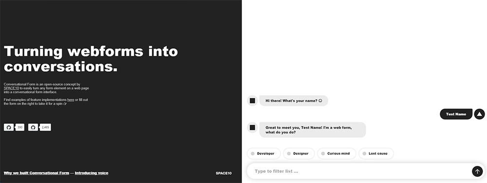 conversational form input fields