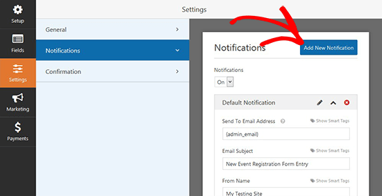 Add New Email Notification