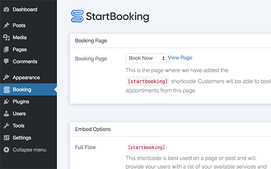 Add booking shortcode to page
