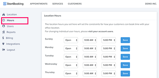 Adding business hours in StartBooking app