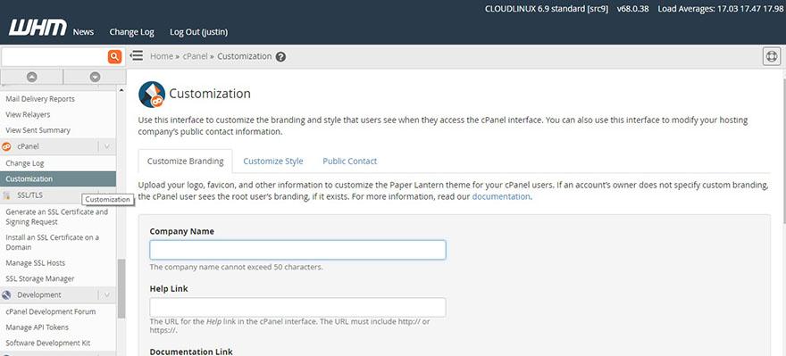 cPanel Customization