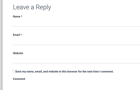 Default WordPress comment form
