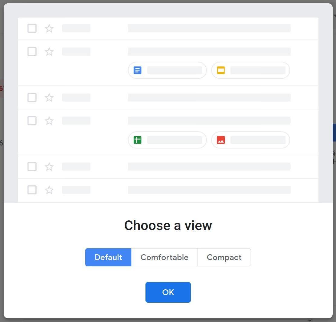 Display density in Gmail