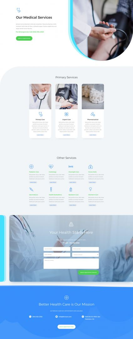 doctor's office divi layout