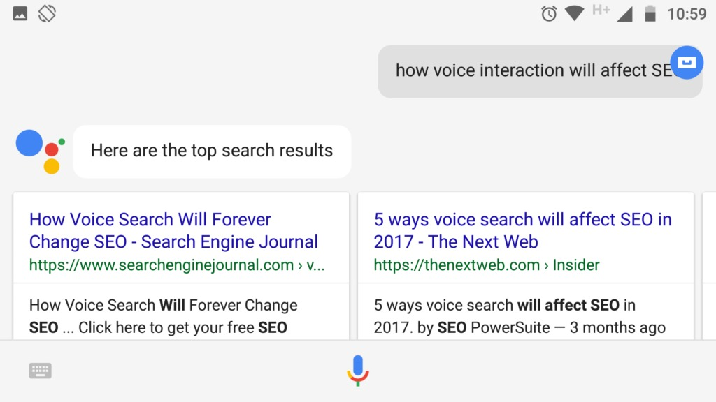An example of a voice-based search.