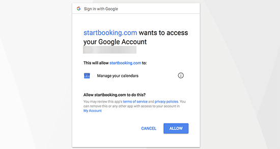 Give access to your Google Calendar