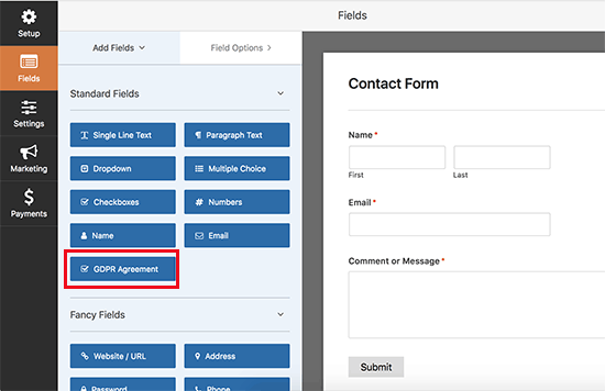 GDPR Agreement field in WPForms
