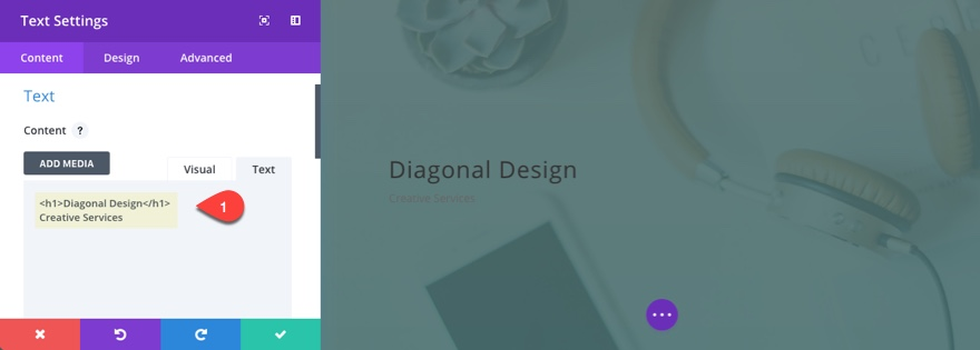 diagonal layout header content