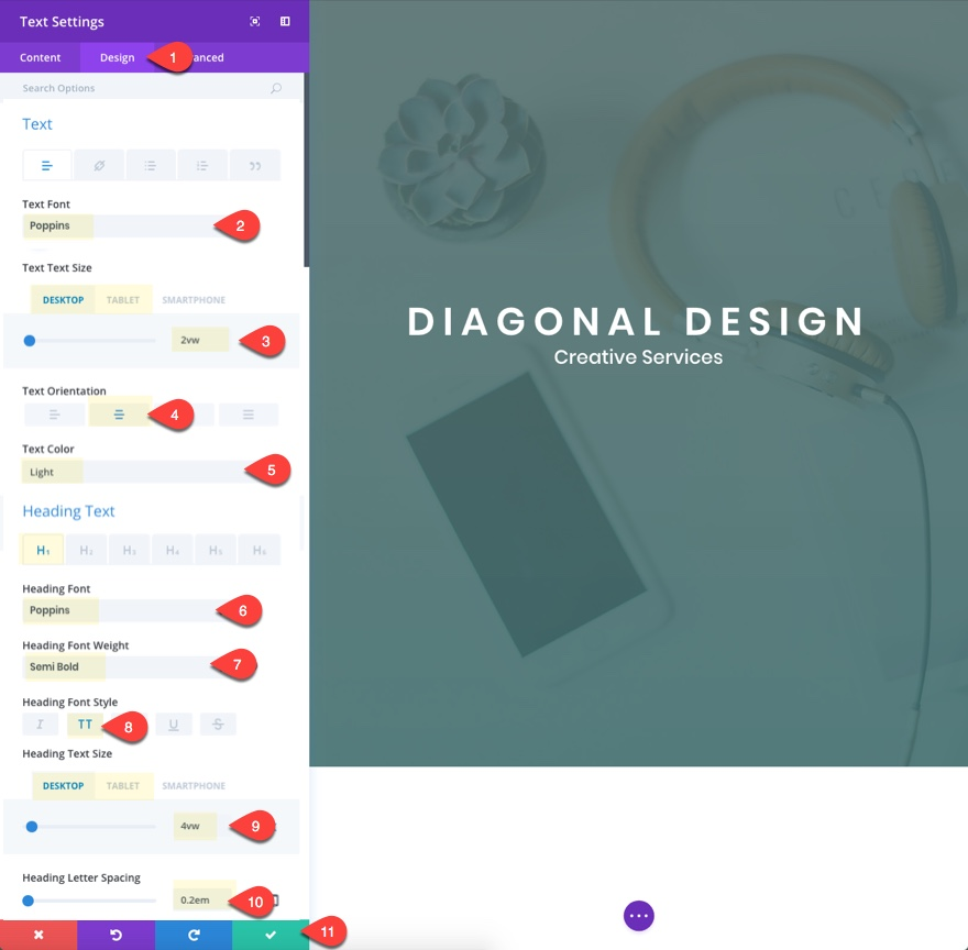 diagonal layout header design