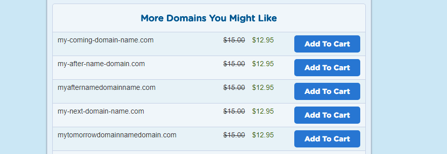 Looking at domain suggestions from HostGator.