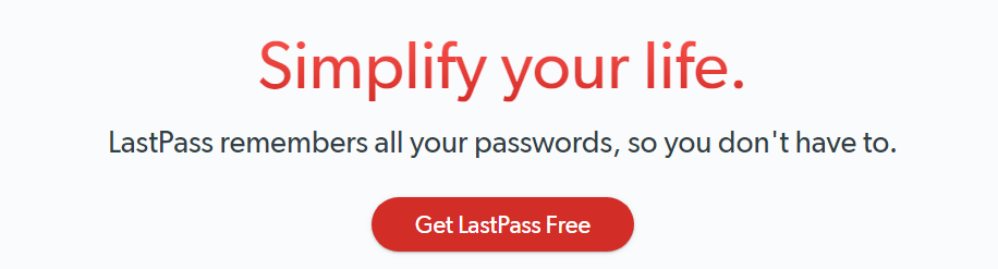 The LastPass homepage.