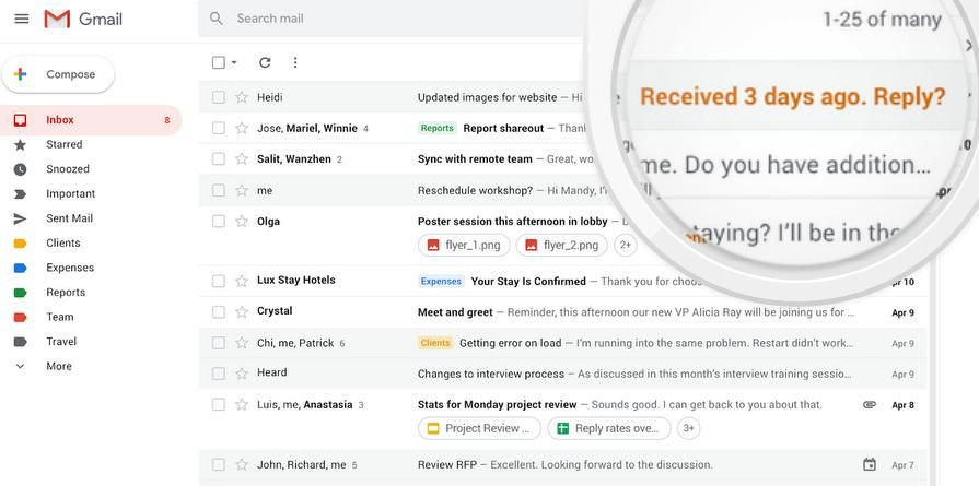 Nudging features in Gmail