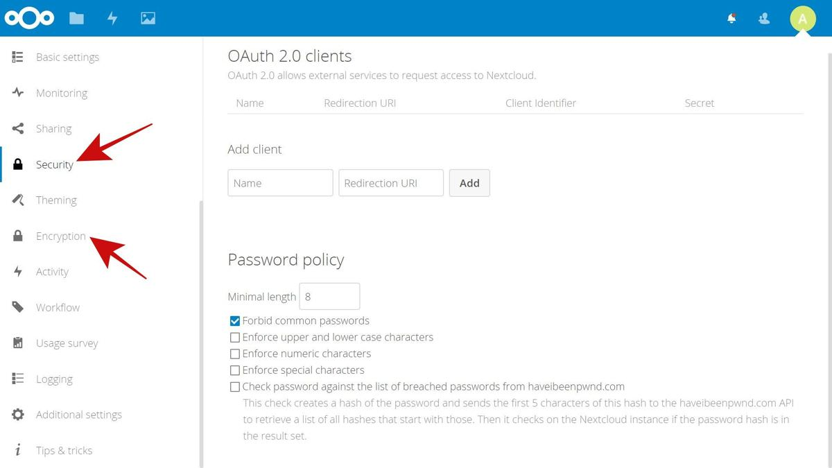 Security settings of Nextcloud
