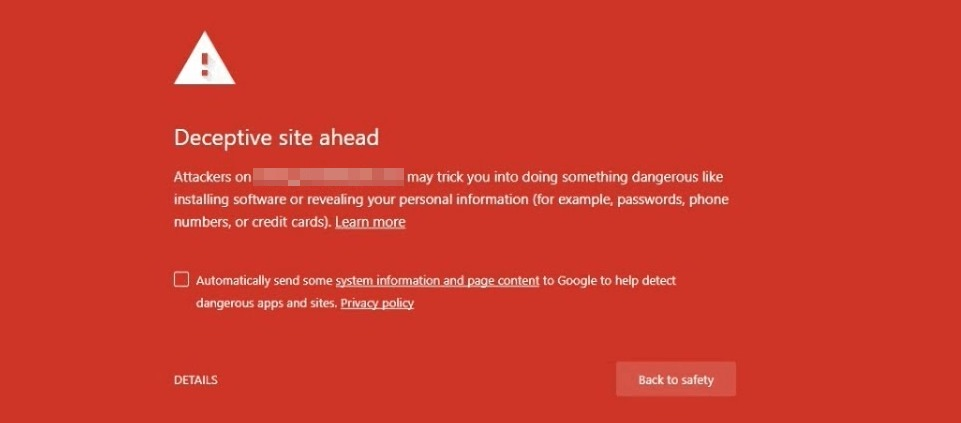 A Google security warning.