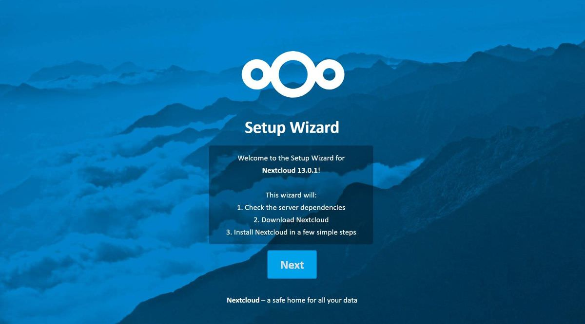 Setup wizard of Nextcloud