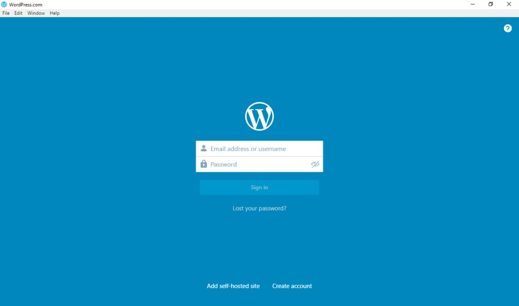 wordpress desktop app first sign in