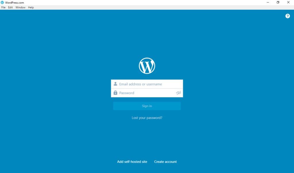 wordpress desktop app first sign in
