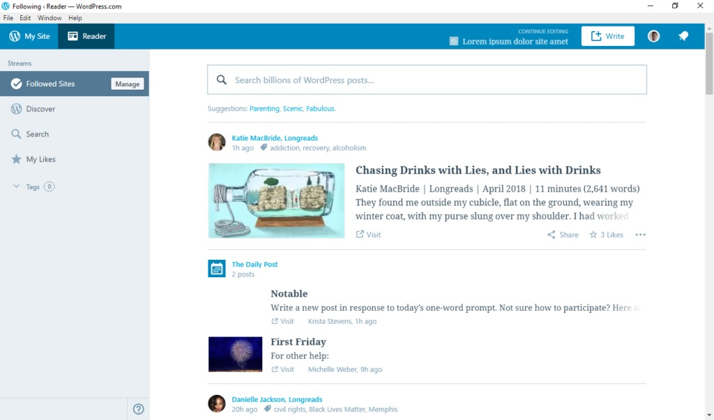 wordpress desktop app landing screen