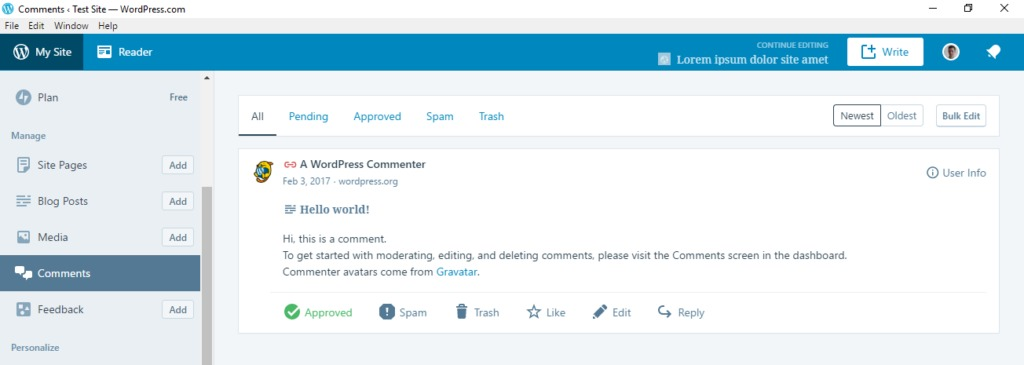 wordpress desktop app manage comments