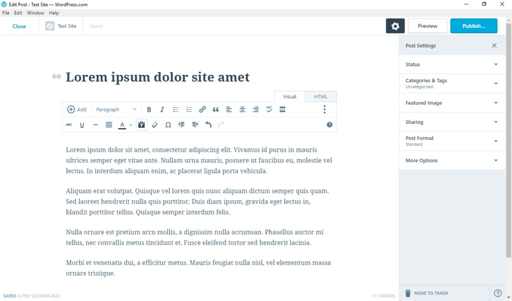 wordpress desktop app post and page editing screen