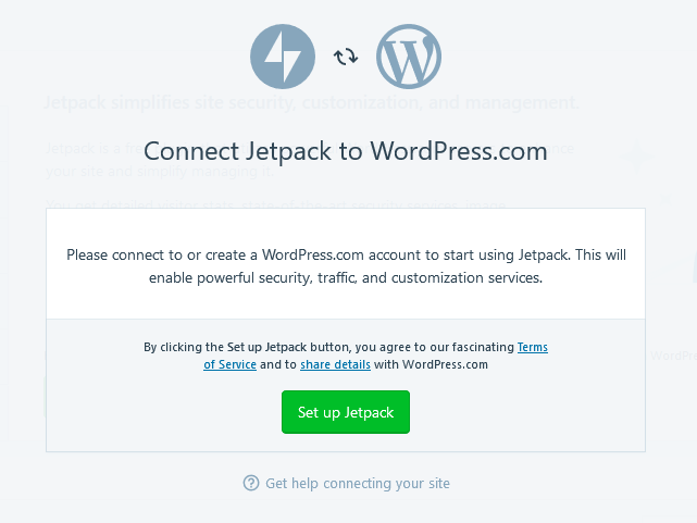 wordpress desktop app set up jetpack