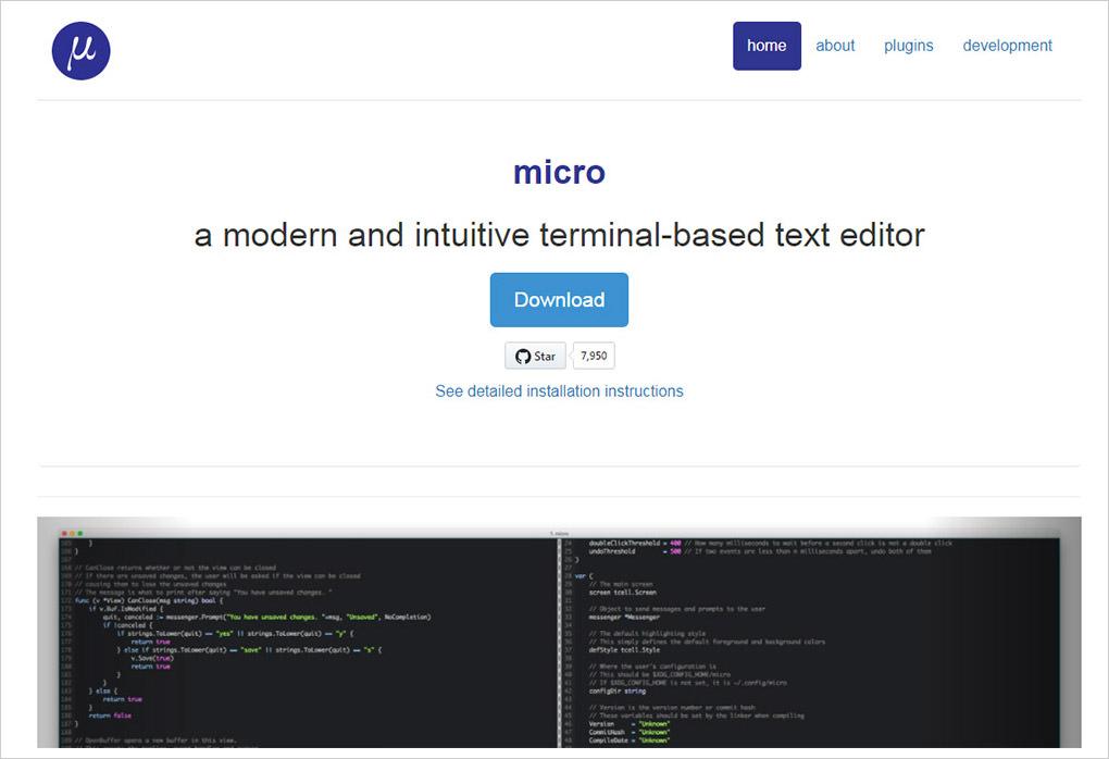 micro terminal editor