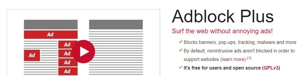 The AdBlock Plus homepage.