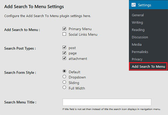 Add search to menu plugin page