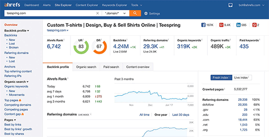 Ahrefs reporting overview