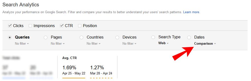compare ctr in google search console