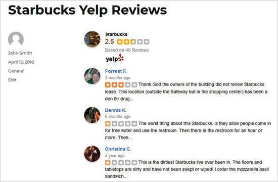 Display Yelp reviews in WordPress posts and pages