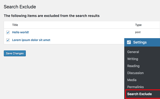 Content you have excluded from WordPress search