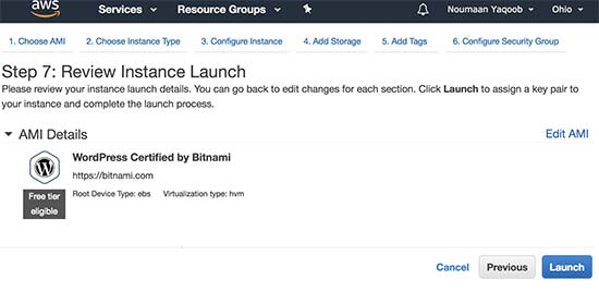 Review instance settings and launch