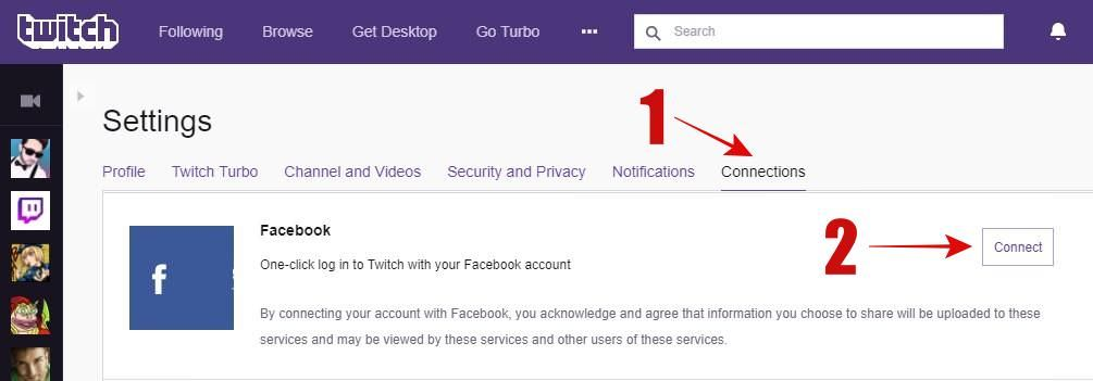 Log-in in a click to Twitch