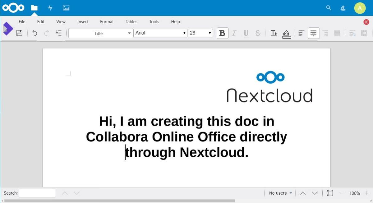 Nextcloud supports Collabora Online Office